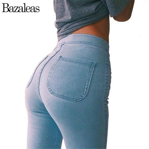 Bazaleas Autumn Style High Waist Washed Jeans