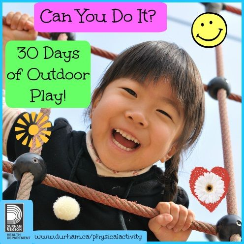 Challenge your family to 30 days of outdoor play and get outside with your family this spring and summer. Check out our calendar for inspiration and a new idea for each day!