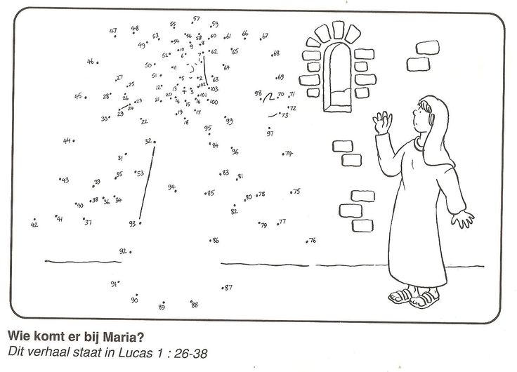 de engel Gabriel komt bij Maria van stip naar stip