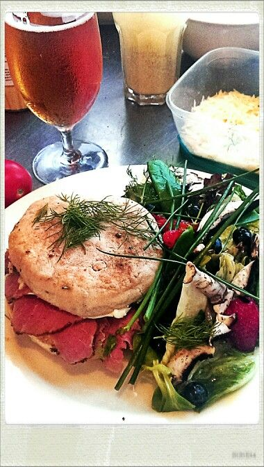 Mega-Bannock, home-made Pastrami, salad