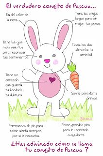 Easter bunny, great for teaching body parts in Spanish!