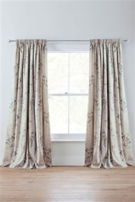 Green Botanical Floral Printed Pencil Pleat Curtains