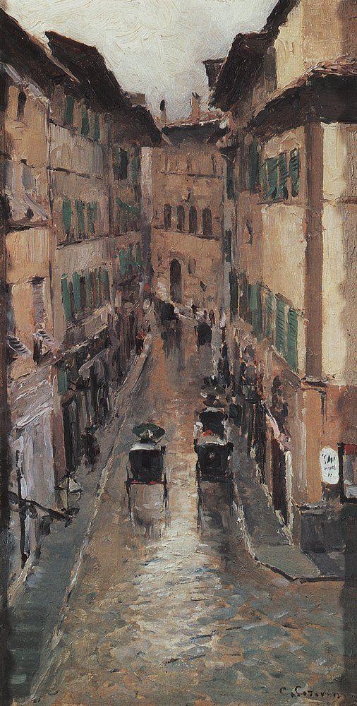 Константин Коровин. Галерея картин и рисунков художника - Улица во Флоренции в дождь. 1888 г