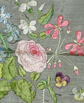 embroideryEmbroidered Flowers, Purple Flowers, Enchanted Embroidery, 19Th Century, 19Th Meg, Needlework Embroidery, Early 19Th, Embroidery Inspiration, Embroidery Art