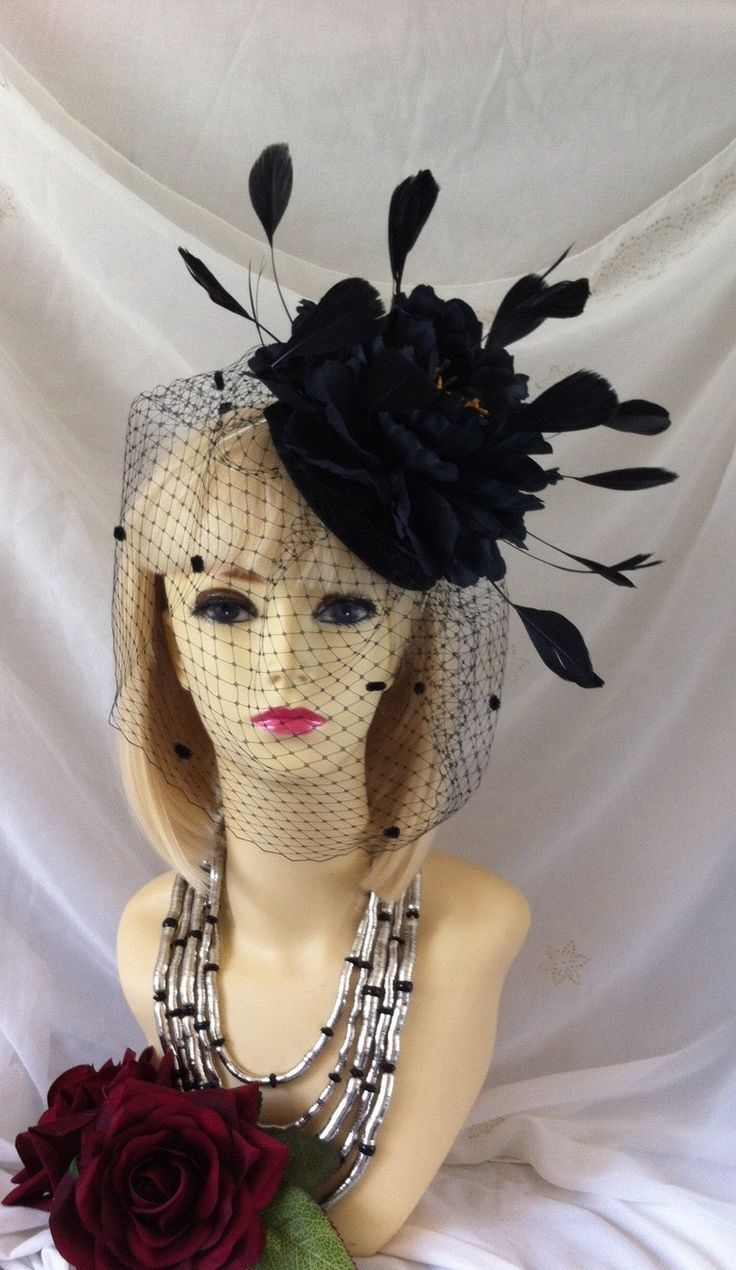 Large fashion hat black face veil feather hat netted