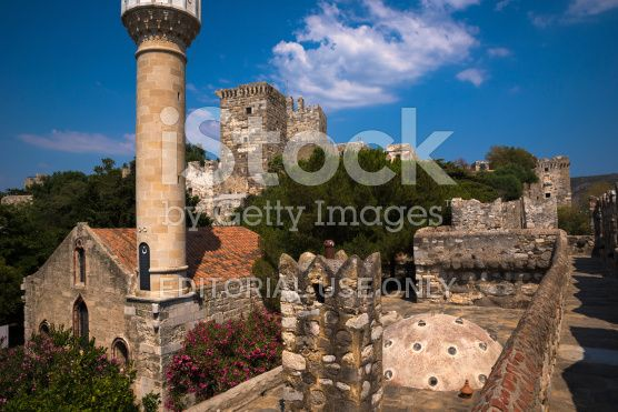 St Peters Castle in Bodrum with Little Mosque royalty-free stock photo