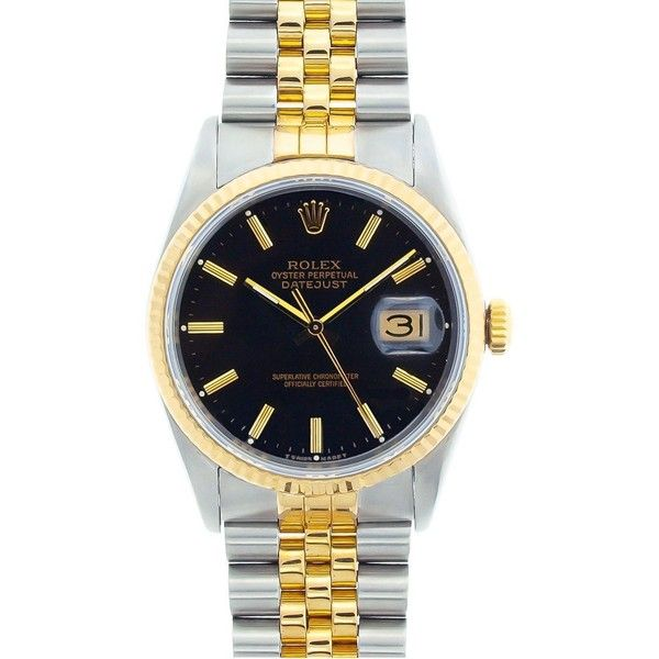 Pre-owned Rolex Men's Datejust Two-Tone Black-Dial Automatic Watch ($4,117) ❤ liked on Polyvore featuring men's fashion, men's jewelry, men's watches, yellow, mens waterproof watches, mens stainless steel watches, pre owned mens rolex watches, mens black face watches and mens watches jewelry
