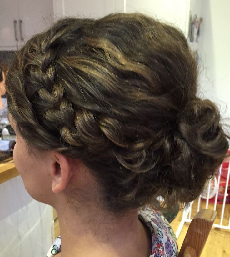 Plait with messy bun for naturally curly hair.  Created by Kirsty @livelifebeautiful