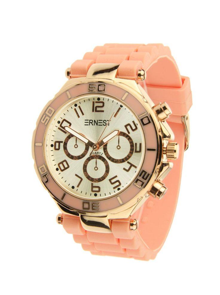 Ernest Horloge Rose Goud - Peachis een prachtig rose gouden horloge met een perzik kleurige kunststoffen band en een zilveren wijzerplaat.Let op!Nabestellen voor 14:00 uur duurt twee werkdagen, anders heb je het horloge binnen drie werkdagen.