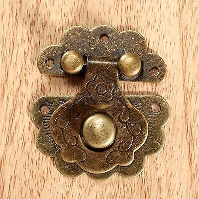 Decorative Antique Bronze Vintage Jewelry Box Case Hasp Cabinet Lock Latch Clasp 2
