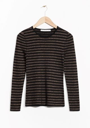 & Other Stories image 1 of Sparkling Stripes Sweater in Black