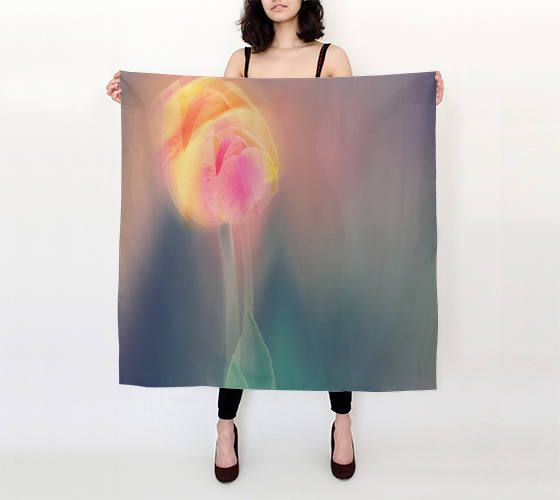 Silk square scarf,printed floral scarf,pure silk scarf, photo scarf,art scarf,silk shawl,pastel scarf,cover-up,gift for her,tulip,colorful by OkopipiDesign on Etsy