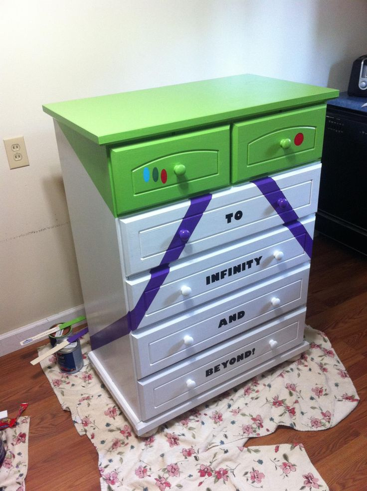 I painted a Buzz Lightyear dresser for Mason's Toy Story room.