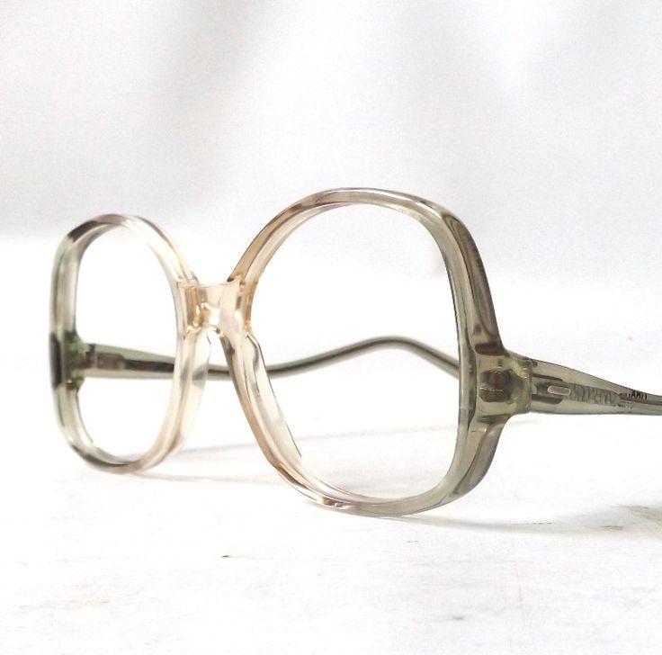 vintage 1970's NOS eyeglasses oversized round clear moss olive green peach plastic frame women eyewear retro eye glasses mid century neutral by RecycleBuyVintage on Etsy