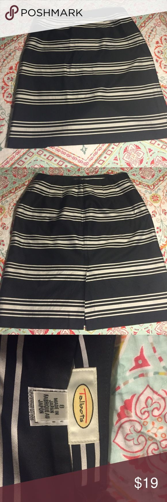 Black and white striped skirt Polyester material. Fits at waist. Zips in back with button inside. Slit in back is about 4 inches. Talbots Skirts Pencil