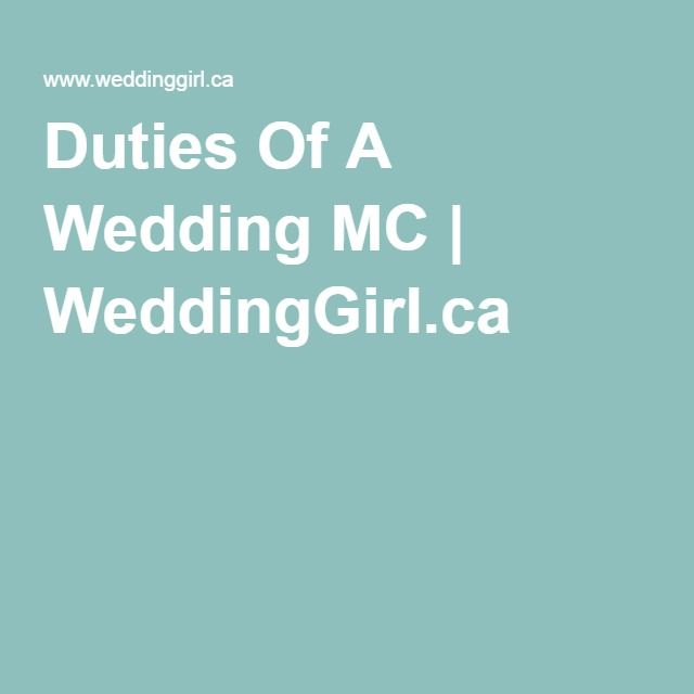 Duties Of A Wedding MC