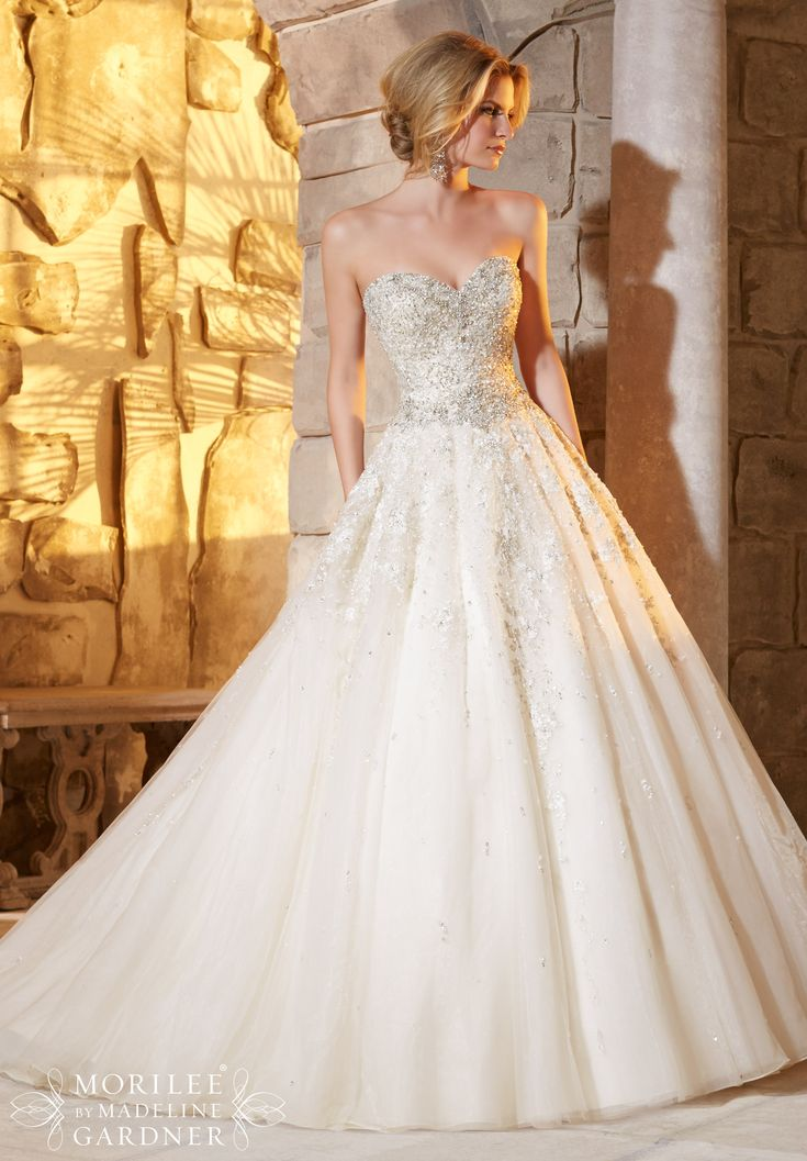 Wedding Dress 2791 Crystal and Diamante Beading Decorates the Intricate Embroidery on the Tulle Ball Gown