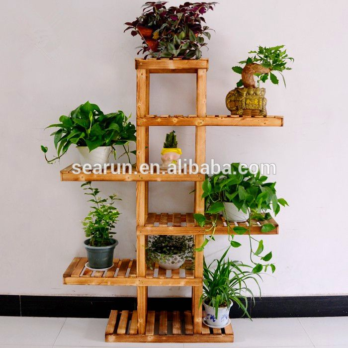 multi angle flower pot stand | The new wood floor flower special multi-layer wooden flower pot holder ...