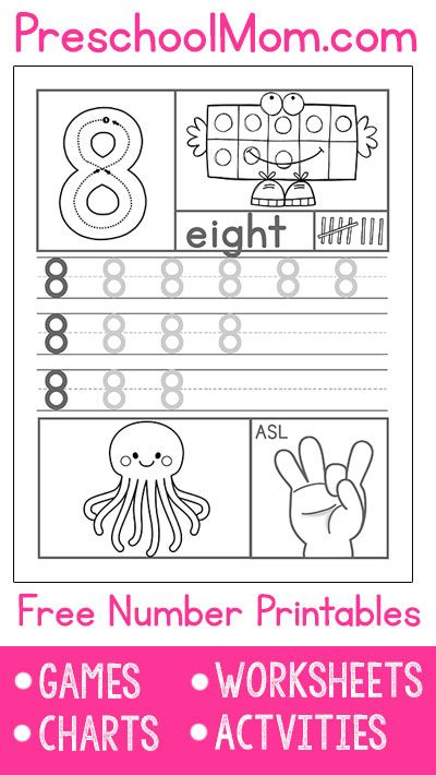 Each worksheet features number formation, ten frame, number word, tally marks, handwriting practice, count and color and ASL hand signs.