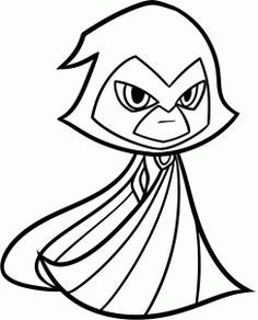 how to draw raven from teen titans go step 8