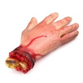 Scare the living daylights out of your party guests with this very realistic cut off hand with exposed bones! Ideal prop to bring your haunted house to life. This is a halloween decoration, not a toy. Please keep out of reach of children.