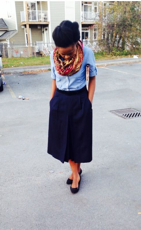 Jeans shirt and blue skirt