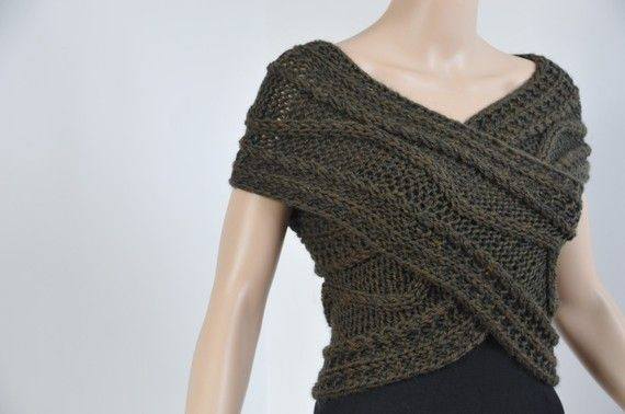Hand knit Cross Sweater/ vest/ Capelet/ Neck warmer