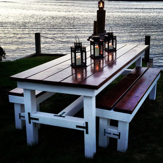 Beautiful Wooden Large Outdoor Table & Matching Benches