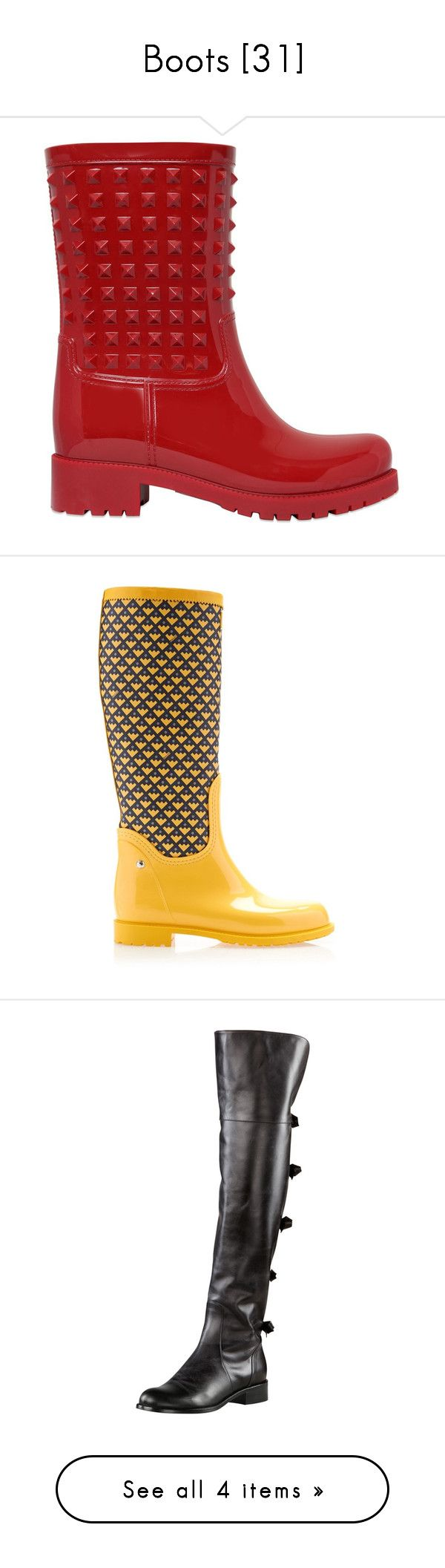 """""""Boots [31]"""" by gdavilla ❤ liked on Polyvore featuring shoes, boots, valentino boots, rain boots, mid-heel boots, wellington boots, mid heel shoes, rubber sole shoes, bally shoes and yellow shoes"""