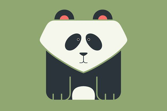 Flat square icon of a giant panda by Andrew Bzh. on @creativemarket