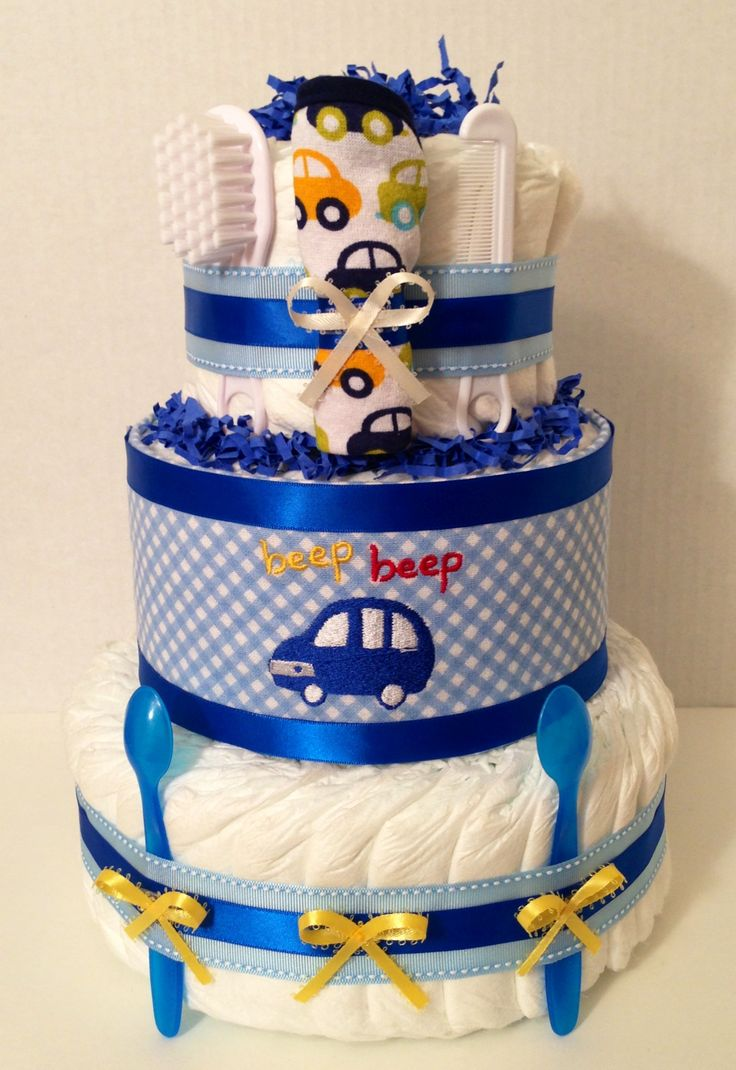 Blauer Auto-Babyparty-Windel-Kuchen www, finediapercakes.com