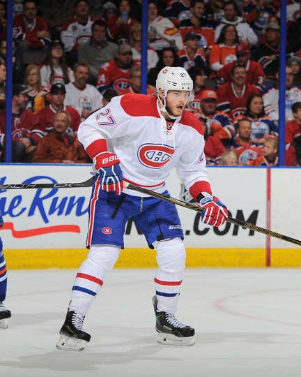 10.29.15 - Habs vs Oilers - Alex Galchenyuk #27 of the Montreal Canadiens skates during a game against the Edmonton Oilers at Rexall Place in Edmonton, Alberta, Canada. (Photo by Andy Devlin/NHLI via Getty Images)