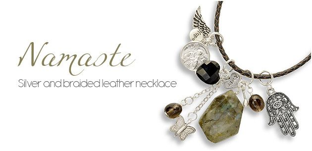 Namaste Silver and leather necklace with semiprecious stones.