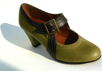 """DECO"" - a smart 1920's style pump with an arching monk strap and buckle and art deco detail stitching."