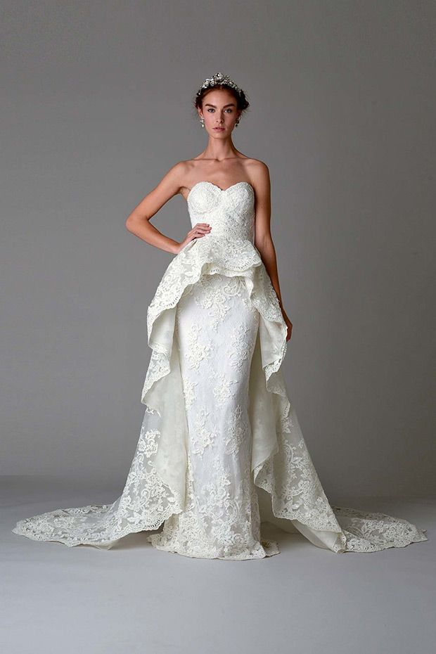 Dress 6 from Marchesa Bridal wedding dresses Fall 2016 Collection - Dramatic, intricately laced and beaded, peplum floor lenghted gown with long train - see the rest of the collection on www.onefabday.com