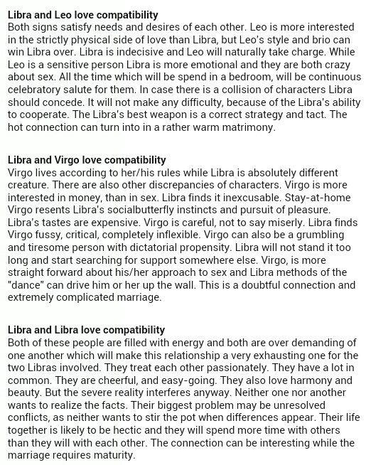 Libra: Leo, Virgo & Libra Compatibility