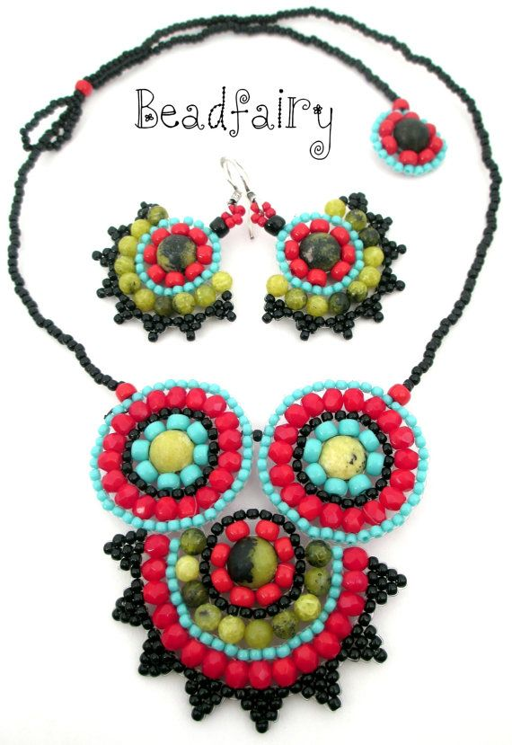 Sugar Skull Set Necklace and Earrings by BeadfairyStore on Etsy