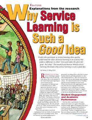 "Billig, Shelley. ""Why Service Learning is Such a Good Idea"" Colleagues Magazine Summer/Fall 2010. Click image to read article."