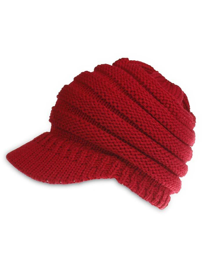 2018 Vintage Solid Color Knitted Baseball Cap In Lava Red  5b0591c5c6e