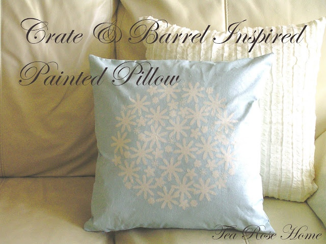 Tea Rose Home/Crate & Barrel Inspired Painted Pillow: Barrels Inspiration, Freezers Paper, Pillows Tutorials, Inspiration Paintings, Paper Flowers, Paintings Pillows, Fun Ideas, Crates And Barrels, Diy Pillows