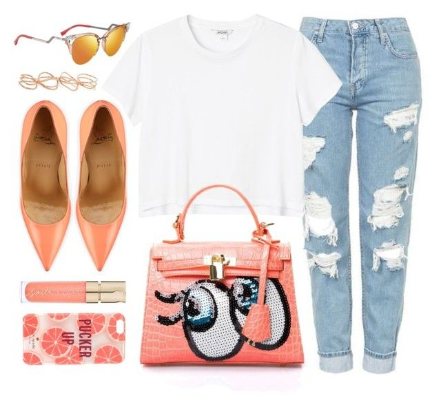 """""""#OOTD"""" by monmondefou ❤ liked on Polyvore featuring Topshop, Monki, Christian Louboutin, Fendi, Smith & Cult, Kate Spade, Repossi, peach and coral"""