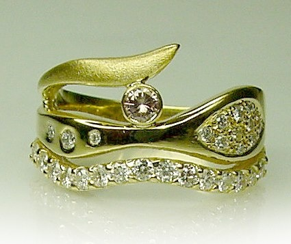 Chibnalls Wave Ring with Pink Champagne and White Diamonds set in 18ct gold