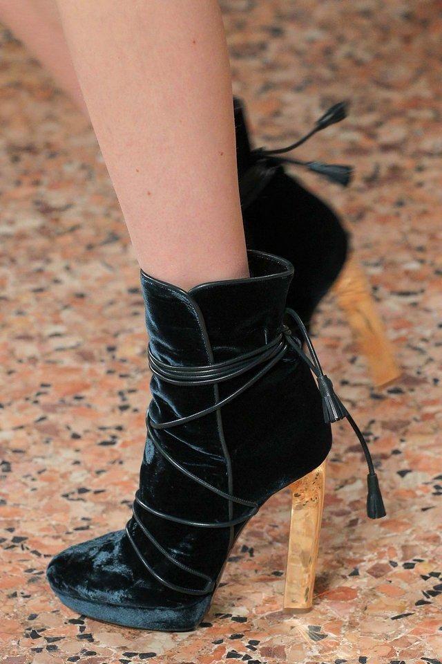 Emilio Pucci black lace-up velvet booties