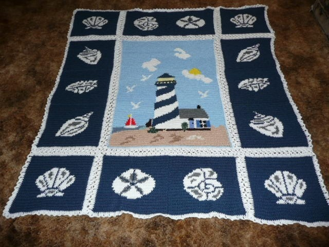 Lighthouse Crochet Afghan With Seashell Trimming