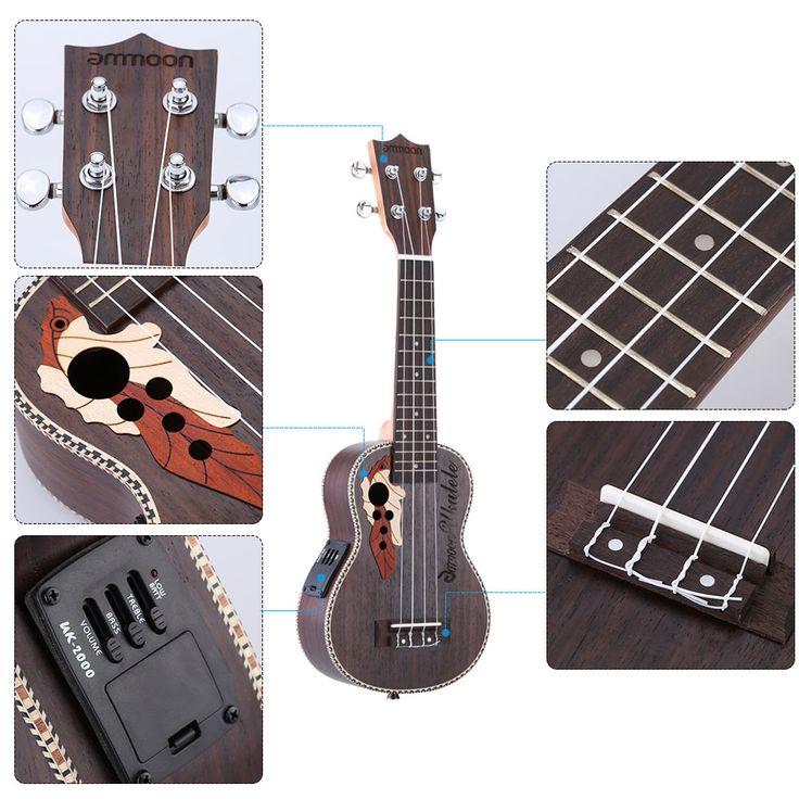 "ammoon High Quality Spruce Ukelele 21"" Acoustic Ukulele Uke 4 Strings Hawaii guitar Musical Instrument with Built-in EQ Pickup"