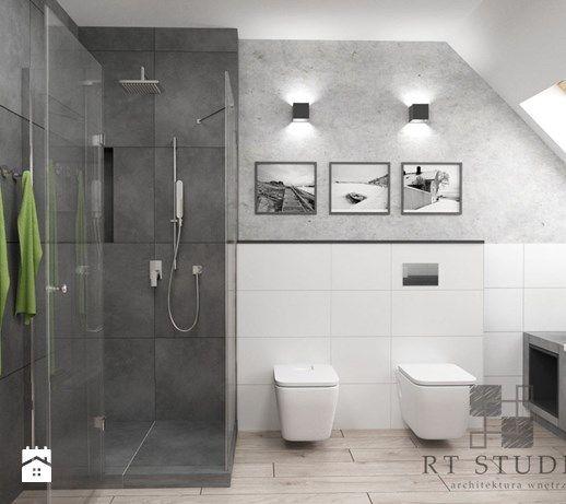 Łazienka na poddaszu - Duża łazienka na poddaszu w domu jednorodzinnym z oknem, styl industrialny - zdjęcie od RT Studio