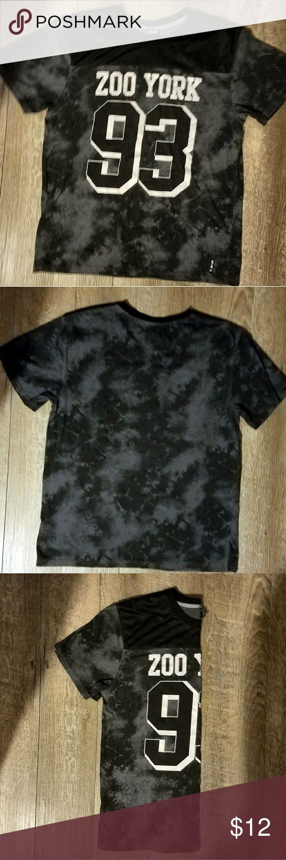 TIE DYE BLACK & GREY ZOO YORK T-SHIRT! EUC! Stylish Zoo York t-shirt, tie dyed with black and grey colors, white lettering on the front that says Zoo York 93. The top of the chest has a cool netting covering.   Material: 60% Cotton and 40% Polyester Zoo York Shirts Tees - Short Sleeve