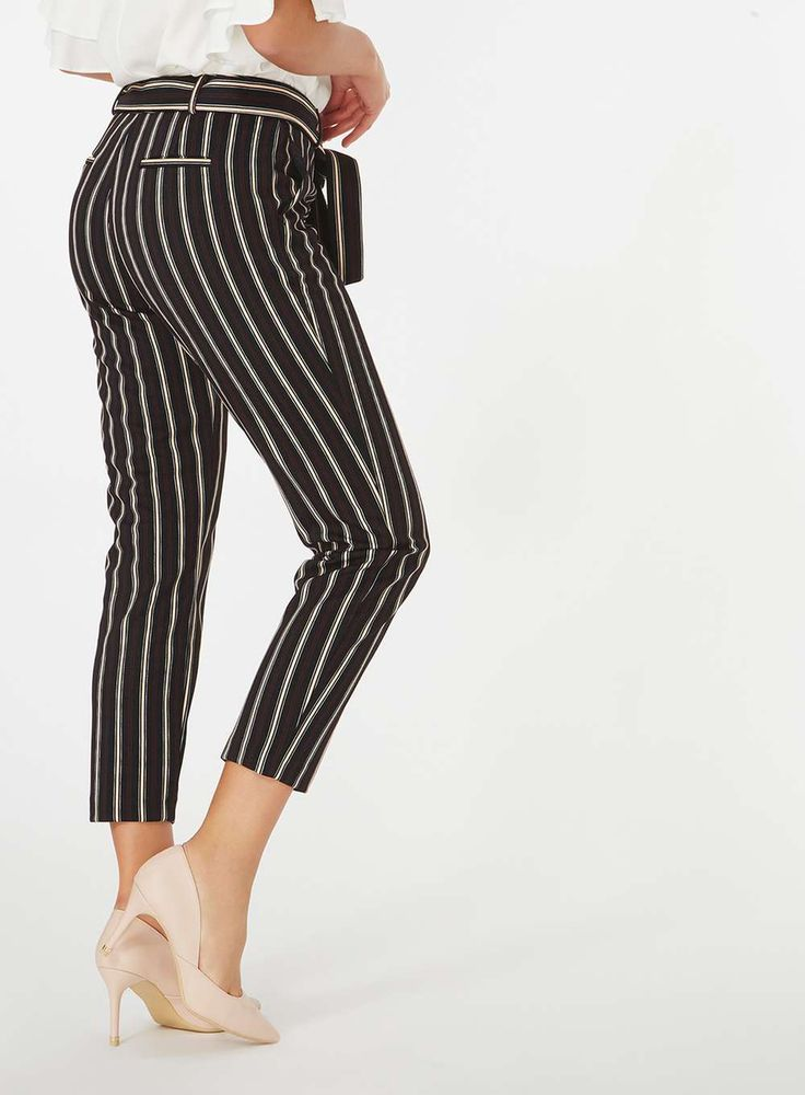 Womens Red and Black Stripe Textured Trousers- Multi