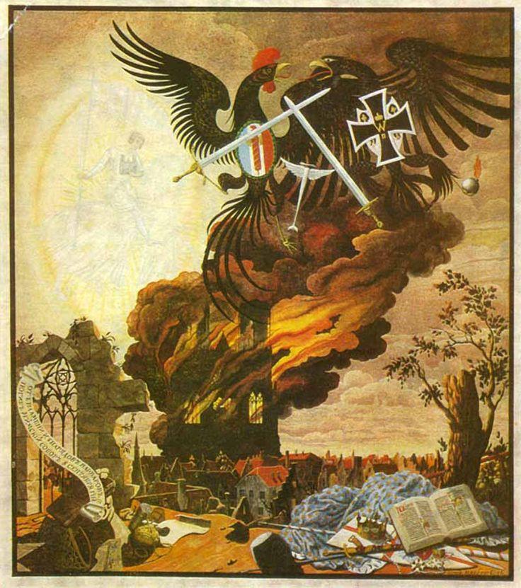 Г. Нарбут. Алегория на разрушение собора в Реймсе. 1914