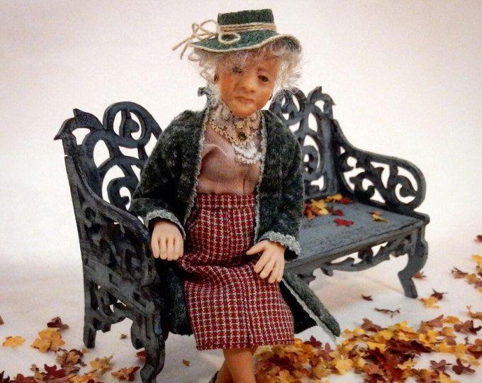 "Dollhouse miniatures art doll 6 inc 1:12 hand made polymer clay OOAK artist doll dollhouse people DOLL ""Grandma"""